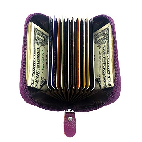Case 10 Coin - COREYI RFID Blocking Genuine Leather Wallet Credit Card Case Holder Protector ID Card Window Compact Zipper Wallet (purple)