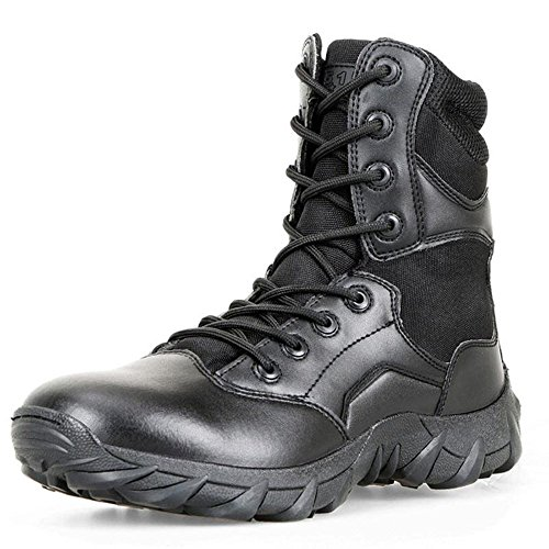 LUDEY Men's 8'' Military Boots Leather Nylon Work & Safety Boots Tactical Boots Outdoor Water Resistant Boots Black 8 US