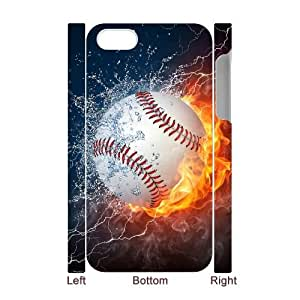 YNACASE(TM) Fire Yellow Softball Customized 3D Cell Phone Case for iPhone 4,4G,4S,Customized 3D Cover Case with Fire Yellow Softball