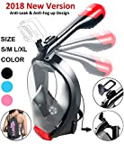 X-Lounger Full Face Snorkel Mask, 2018 New Foldable Snorkeling Mask Full Face with Detachable Camera Mount Pivot Arm and Earplug, 180° Large View Easy Breath Dry Top Set Anti-Fog Anti-Leak for Adults