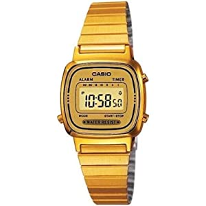 Casio Womens LA670WGA-9 Gold Stainless-Steel Quartz Watch with Digital Dial