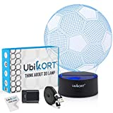3D Night Lights for Kids 3D Illusion lamp Soccer Ball, UBIKORT Baby Night Light Great Birthday Gift for Sport Fans, Helps Kids Sleep Better with a Glow Light, 8 Modes Color (6.5FT USB Cord)