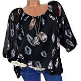 OWMEOT Women Bohemian Short Sleeve V Neck Floral Print- Plus Size Feather Print V-Neck Blouse Pullover Tops Shirt (Black, L)