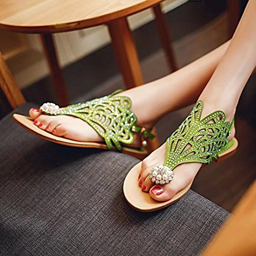 Angelof Sandales Sandales Femmes, Compensees Femme Plates Ete Chaussure de Soiree Chic Sandales Confortables Escarpin Strass Vert