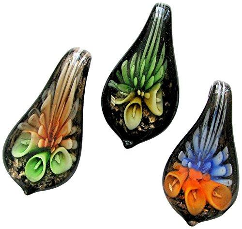 Glass Pendant Millefiori (Murano Glass Pendant/Curvy Puffy Heart Pendant/Millefiori Chunky Pendant/ 3 Pcs Set)