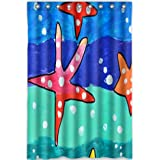 Custom Unique Design Beautiful Starfish Waterproof Fabric Shower Curtain, 72 by 48-Inch