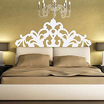 BATTOO Bed Decoration Baroque Flower Pattern style Headboard Wall Decal  Vinyl Wall Art Sticker Bedpost(