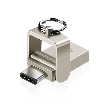 UGREEN Pendrive USB 3.0 OTG, Memoria Flash USB 3.0 y USB OTG Tipo C con Carcasa Metálica y Anilla de Llavero (64G)