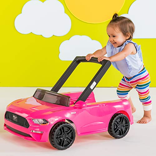 51oKl7XIo9L - Bright Starts 3 Ways To Play Walker, Ford Mustang Pink, 6 Months Plus