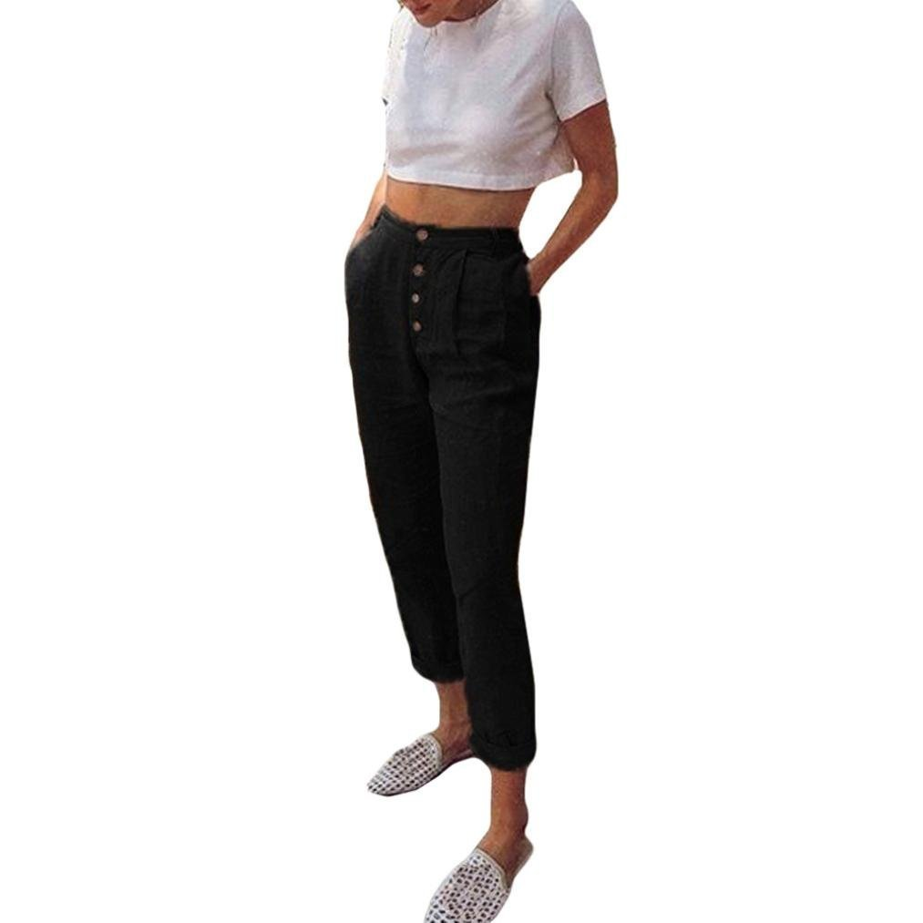 Pervobs Women Pants, Big Promotion! Women Casual High Waist Ankle-Length Solid Button Pencil Pocket Pants Trousers (S=4, Black) by Pervobs Women Pants