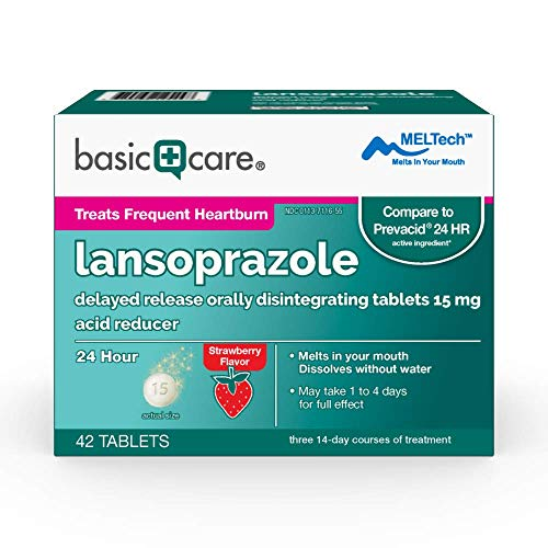 Basic Care Lansoprazole Delayed Release Orally Disintegrating Tablets, Strawberry, 42 Count