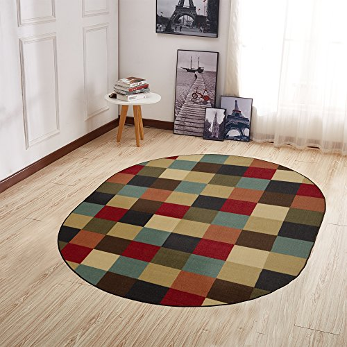 Ottomanson Ottohome Collection Contemporary Checkered Design Non-Skid Rubber Backing Modern Area Rug, 5' X 6'6 Oval, Multicolor Oval Kitchen Rugs