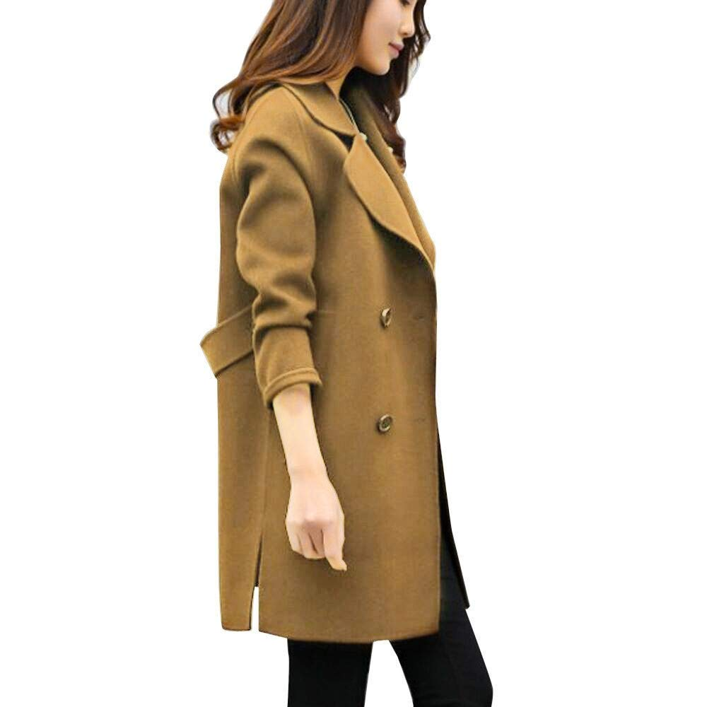 Winter Mantel Damen, Langer Mantel Revers Parka Jacke Strickjacke Outwear