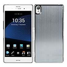 kwmobile Premium hard case for Sony Xperia Z3 with reinforced back of brushed aluminium in silver