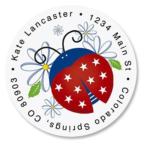 - Patriotic Ladybug Round Return Address Labels - Set of 144, 1-1/2 diameter Self-Adhesive, Flat-Sheet labels, Patriotic Address Labels