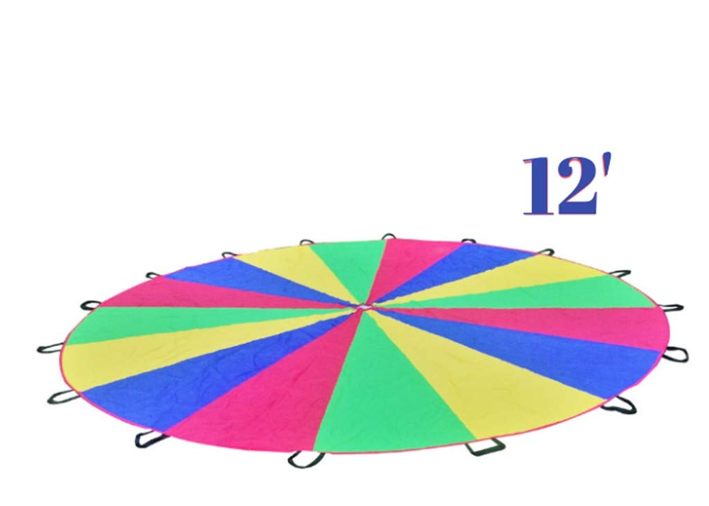 A&M Pro Giant Kid's Play Parachute Canopy with 16 Handles (12 Feet) Indoor & Outdoor Games and Exercise Toy | Promote Teamwork, Fitness, Social Bonding | Ages 3+