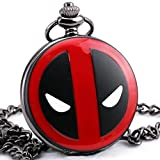 TD Men Boys Vintage Retro Deadpool Black Quartz Pocket Watch Pendant Necklace Sweater Chain + Gift BOX