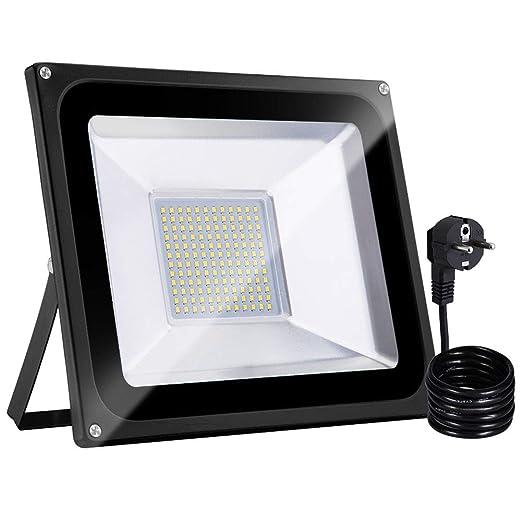 100W Proyector LED Para Exteriores con Enchufe, Bellanny Proyector LED Blanco Cálido IP65 10000LM 3000K Para Iluminación de Seguridad, Piscina, ...