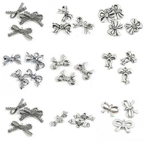 32 Pieces Antique Silver Tone Jewelry Making Charms Bowtie Bowknot Bow Tie Connector Lace