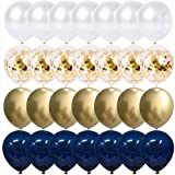 Happy Birthday Balloons Party Balloons, Night Blue Balloons Silver Balloons, Perfect for Birthday Party Decorations (50pcs) (Blue and golden)