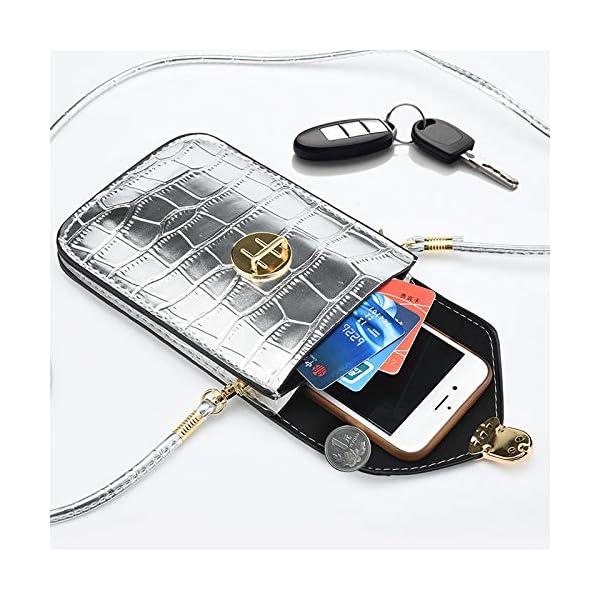 INSOUR Pochette Telephone, Sac de Telephone Bandouliere en PU Cuir Sac Portefeuille Petit Sac Epaule pour Téléphone…