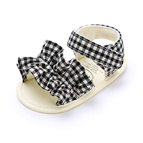 (Mybbay Infant Baby Girls Cute Sandals Rubber Soft Sole Summer Sweet Princess Dress Bowknot Casual First Walker Shoes (15-21 Months M US Toddler, D03-black))