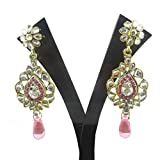 Indian Traditional Antique Earring Pink CZ Goldtone Women Party Wear Fashionable Jewelry