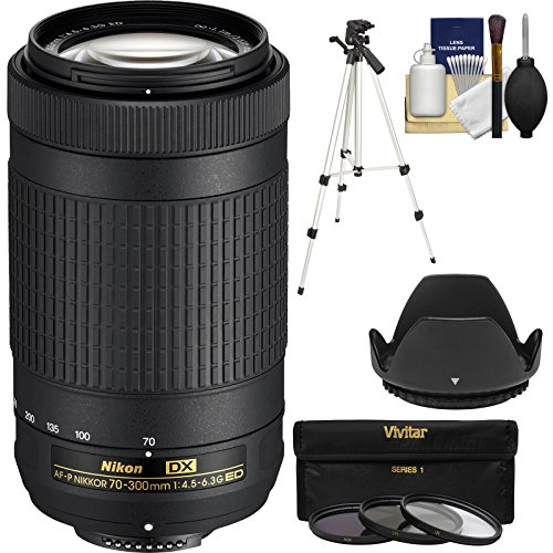 Nikon 70-300mm f/4.5-6.3G DX AF-P ED Zoom-Nikkor Lens with 3 UV/CPL/ND8 Filters + Hood + Tripod + Kit (Renewed)