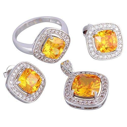 Yellow Topaz 925 Sterling Silver Pendants/Ring/Earrings fashion Jewelry Set size 6 7 8 9 S263 (size 8)