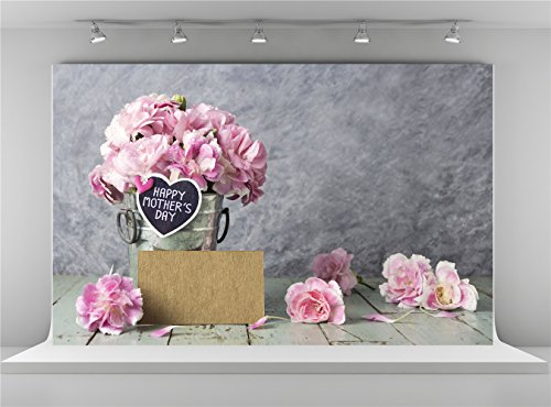Kate 7x5ft Happy Mother's Day Photography Backdrops Pink Carnation Wood Floor Photo Background]()