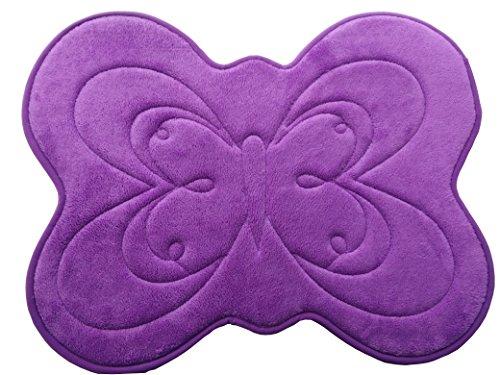 WuKong Purple Butterfly Shape Memory Foam Bath Rug Non-slip Waterproof Bathroom Mat (Rug Bath Butterfly Purple)