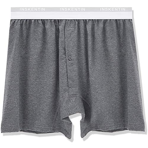 Inskentin Men's Soft Cotton Stretch Knit Boxer Shorts Relaxed Fit Loose Underwear with Button Fly 1 Pack or 3 Pack