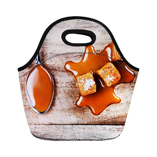- Semtomn Lunch Bags Liquid Homemade Caramel Sauce Flowing on Candies Wooden Board Neoprene Lunch Bag Lunchbox Tote Bag Portable Picnic Bag Cooler Bag