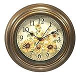 11 Inch Diameter Sunflower Motif Bronze Finished Wall Clock