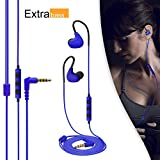 MAXROCK Wired In-ear Earphones Over Ear Headphones Running/ Gym/ Exercise/ Sports/ Sweatproof Earbuds with Microphone, For IPhone, IPad, Android Smartphones, Mp3/mp4 Player, Tablet (Blue)