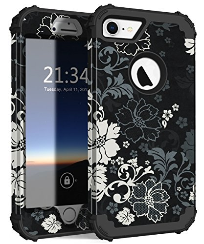 iPhone 7 Case, iPhone 8 Case, Hocase Shockproof Heavy Duty Silicon Rubber Bumper+Hard Shell Hybrid Dual Layer Full-Body Protective Case for Apple iPhone 7 (4.7-inch) 2016 - Classic Black/White Flowers