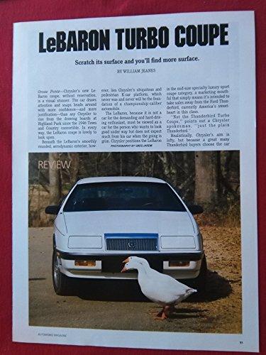(1987 CHRYSLER LeBARON TURBO COUPE VINTAGE COLOR ROAD TEST - USA - AUTOMOBILE MAGAZINE - GREAT ORIGINAL)