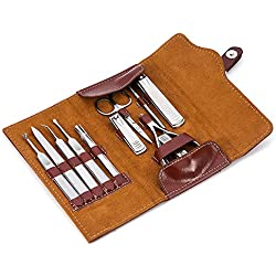 Manicure Set Professional Sharp Nail Clipper Leather Set, Stainless Steel 12pcs Manicure Pedicure Set, Cuticle Nipper, Tweezers,Beauty Travel Manicure Kits for Men/Women (Brown)