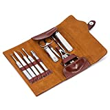 Manicure Set Professional Sharp Nail Clipper Leather Set, Stainless Steel 12pcs Manicure Pedicure Set, Cuticle Nipper, Tweezers,Beauty Travel Manicure Kits for Men/Women (Brown) ?- …