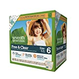 Seventh Generation Free and Clear Sensitive Skin Baby Diapers with Animal Prints, Size 6, 40ct