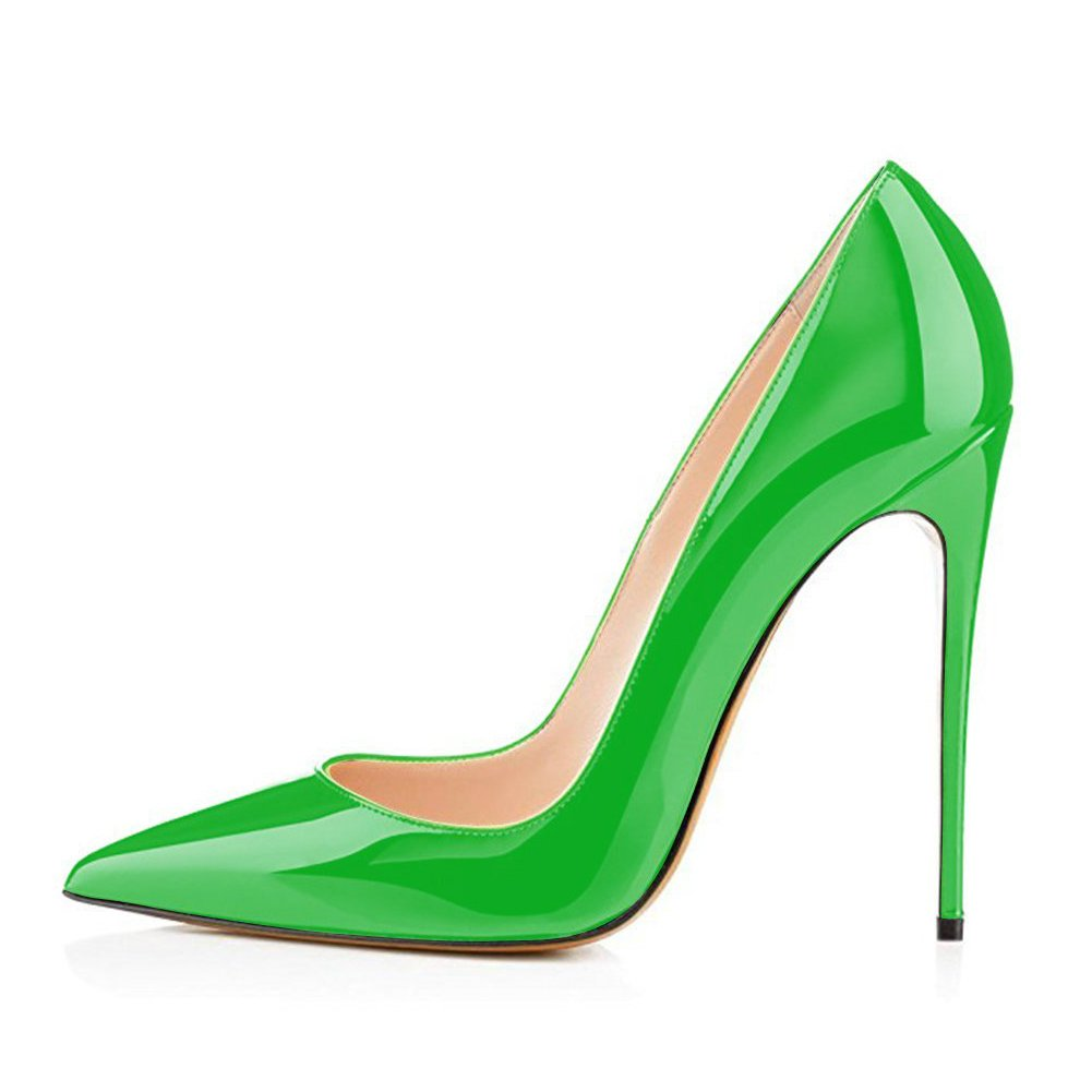 UMEXI Women Pointed Toe High Heels Slip on Stilettos Wedding Dress Party Dress Wedding Shoes Plus Size Pumps B077CHL49B 12 M US|Green be6928