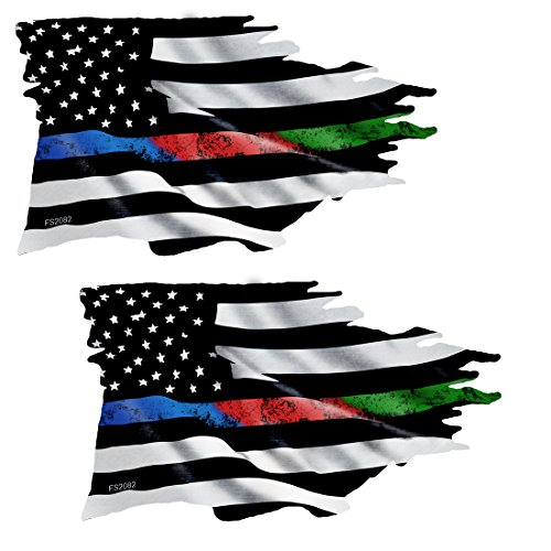 - AZ House of Graphics Thin BLUE RED GREEN LINE Tattered Flag Sticker 2 Pack - FS2082