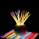 "300 Glow Sticks Bulk Party Supplies - Glow in the Dark Fun Party Pack with Super Bright 8"" Glowsticks and Connectors for Bracelets and Necklaces (3 Tubes of 100)"