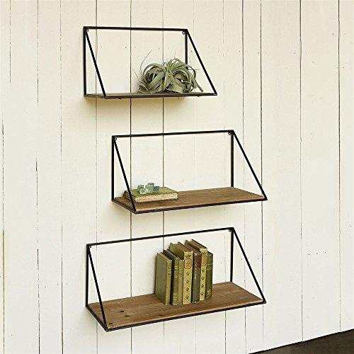 Cheap Rustic Mid Century Modern Wall Shelf Set | Architectural Wood Metal