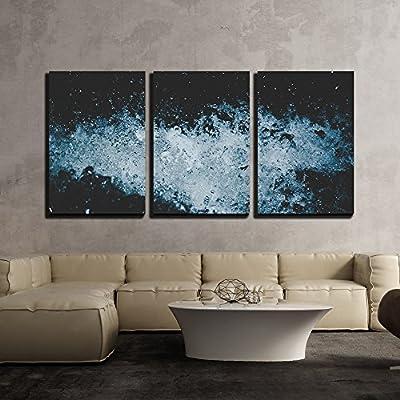 Water Splash Isolated on Dark Blue Background x3 Panels