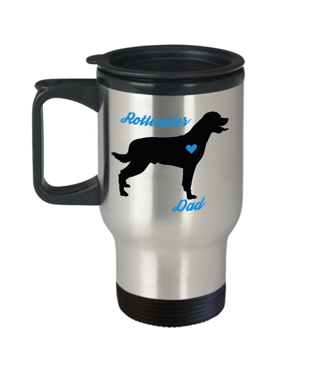 Rottweiler Dad Travel Mug - Insulated Portable Coffee Cup With Handle And Lid For Rottie Dog Lovers - Perfect Christmas Gift Idea For Men - Novelty Animal Lover Quote Statement Accessories