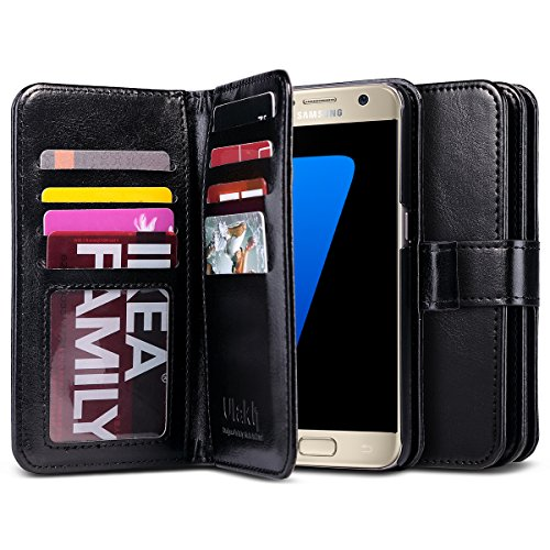 Galaxy S7 Case, ULAK Magnetic Premium PU Leather Wallet Case Flip Stand Cover with Built-in 9 Slots and Wrist Strap for Samsung Galaxy S7 (5.1 inch) 2016 Release (Black)