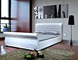 Greatime B1175QQWH Upholstered Sleigh Bed, Queen, White