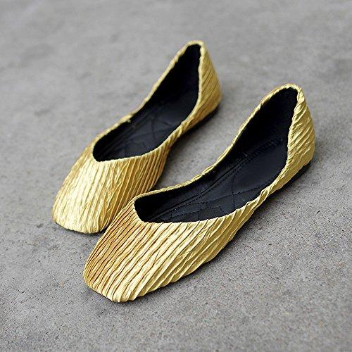 Parte de Ballet Inferior Zapatos Amarillo Casuales del Salvajes Zapatos Los 39 DHG Perezosos Cuadrada Boca la Baja de la de dfCF8q6c
