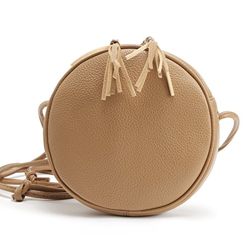 ZOONAI Women Teen Girls Small Circular Crossbody Purse Mini Crossover Phone Shoulder Bag Brown